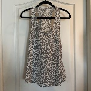 Joie gray/white cheetah racerback top